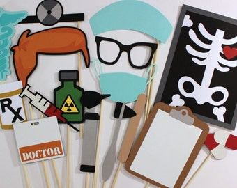 Doctor Photo Booth Props - 16 Pc Medical Photobooth Set - Features Dry Erase Clipboard and Doctor Name Tags