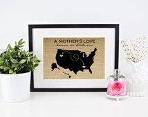 Mother's Day Map Print | Personalized Long Distance Map | Long Distance Love | Mother's Day Gift for Mom | Gift From Daughter Gift from Son