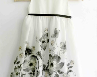 Black and white silk dress hand painted for kids.  Made to order.