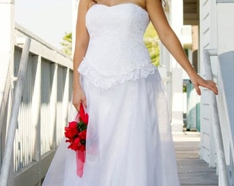 strapless lace bodice drop waist lace peplum with organza ball gown