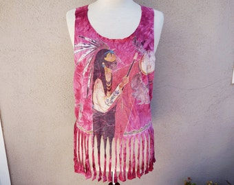 Upcycled Fringed Tank Top The Mountain Tshirt Pink Tie Dye Tank Top Cotton Rough Edges Native American Print
