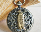 Penguin pocket watch,  Men's mechanical penguin pocket watch with tiger eye beads adorning chain
