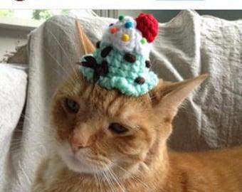 Cat Hat - Ice Cream Scoop Party Hat - Small Dog Hat