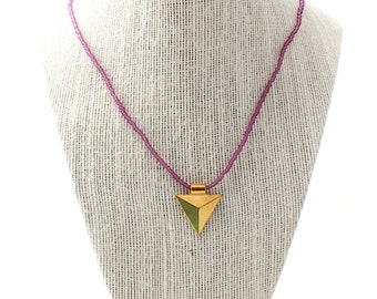 arrowhead charm necklace - translucent purple, beaded necklace, purple charm necklace, arrowhead charm necklace, purple necklace, beaded