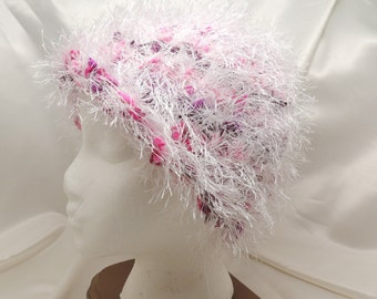 White and Pink Loom Knit Fuzzy Hat