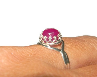 Chalcedony Ring, Sterling Silver Ring Size 7, Crown Ring