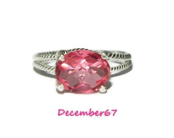 Pink Stone Ring, Sideways Stone Ring, Sterling Silver Rope Ring, Unique Ring, Natural Stone Ring, Quartz Ring