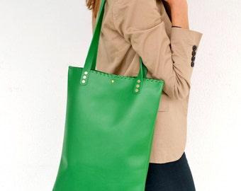 Leather tote  / green leather bag / Green shoulder bag