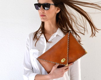 Brown Leather clutch / Camel  leather bag / Brown leather purse / Tabac leather evening bag / Envelope clutch