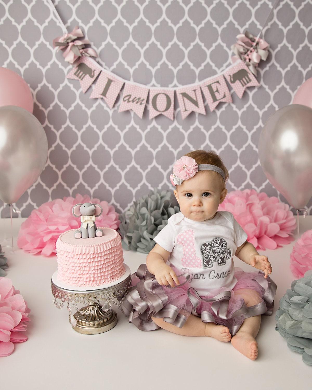 Elephant Theme 3rd Birthday Party: ELEPHANT BIRTHDAY BANNER / Pink Elephant 1st Birthday / 1st