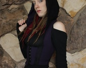 Romance Underbust Hoodie Crop Vest in Organic Purple Cotton/Soy fabric, Festival Couture, Corset, Elegant, Neck Clasp