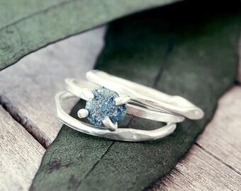 Raw diamond ring, Blue diamond ring, Raw diamond ring, raw stone engagement ring, promise ring, engagement ring, raw stone, something  blue