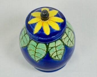 Handmade Pottery Storage Jar, hand thrown stoneware pottery, canister, cookie jar, snack jar, kitchen decor, Black eyed Susan Flower