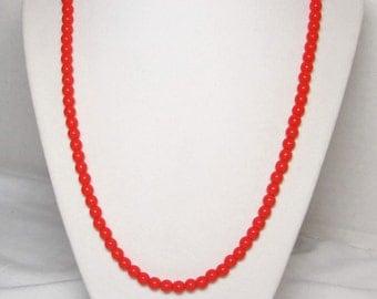 Orange Necklace Orange Preciosa Czech Glass Druk Round Beads