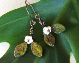 White flower earrings green leaves Czech glass beads