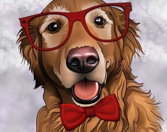 Valentine's Day Pet Portrait - 1 Pet- Your pet into an illustrated portrait, pet art portrait, Pet gift, Pet lover gift, pet memorial