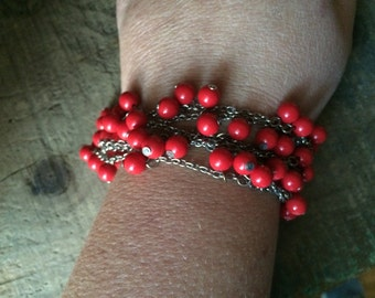 Cherry Bomb- Vintage Red Coral Beaded Layered Bracelet