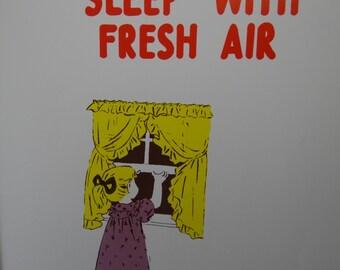 Vintage 1957 School Poster || Health Series, Set 1 - Primary Grades || Sleep With Fresh Air || Hayes School Publishing Co || Wilkinsburg, PA