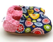 flower baby shoes baby girl shoes baby booties for girl toddler shoes blue and pink abstract flower shoes vegan baby soft sole shoes baby