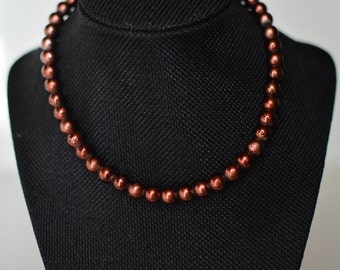 Rusty Rose Gold Pearl Necklace