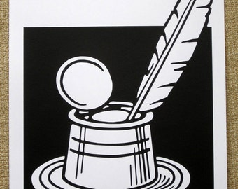 Inkpot & Quill Pen - limited edition screenprint