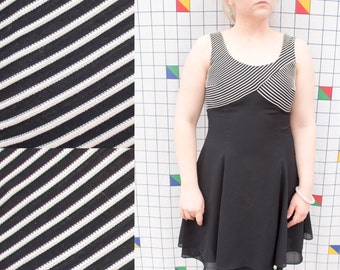 CONTEMPT Black and White Striped Bust Fit and Flare A-Line Party Dress 1990s Jessica Howard Dress 4