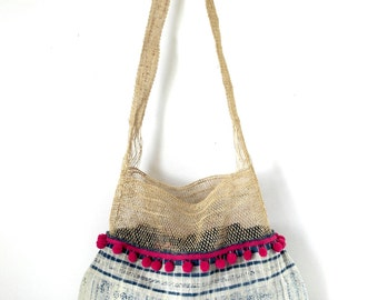 jungle vine hobo, hmong hemp bag, reversible hobo, ooak