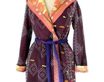 kantha quilt jacket, kantha coat, kantha jacket, hooded coat,  reversible kantha coat - size small to medium