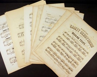 20 Vintage Sheet Music Pages - Heavily Aged - 19th Century - No Words - Paper craft supply