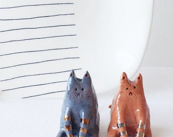 Ceramic cat -- miniature cat -- love cat ornament -- mini kitty with metallic stripes -- small pet art.