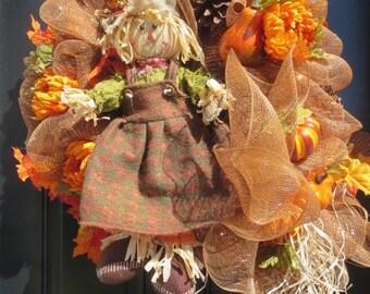 Scarecrow Fall Wreath, Fall Mesh Wreath, Fall Front Door Wreath, Fall Door Wreath, Autumn Wreath, Pumpkin Wreath, Deco Mesh Wreath