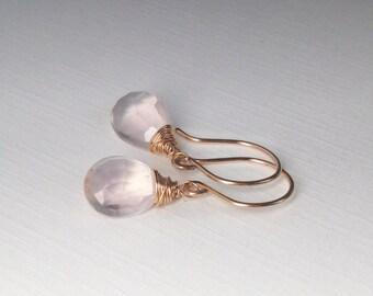 Rose Quartz Earrings - Pale Pink Dangle Drop, Natural Gemstone in Gold, Rose Gold, Sterling, Titanium
