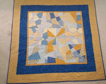 Stack n Qhack Quilt in blues and yellows