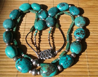 Necklace Sterling Silver Turquoise  Vintage Bench Beads