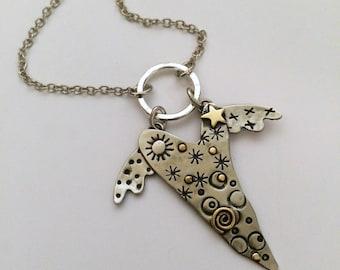 Heart Necklace, Silver Heart Necklace, Heart With Wings, Flying Heart, Flying Heart Necklace, Whimsical Heart, Heart Jewelry, RP0636NK