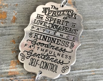 inspirational pendant bible verse galatians fruit of the spirit love joy peace patience kindness faithfulness silver toned words text