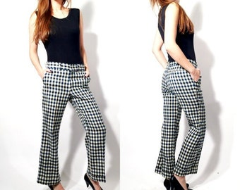 Vintage Perma Prest Blue and White Checkered Pants Size 32