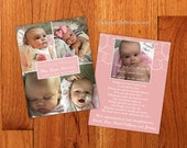 Double Sided Memorial Card with Photo Collage and Poem - Funeral Thank You Note or Sympathy Postcard - Pink can be Any Color - Infant Loss