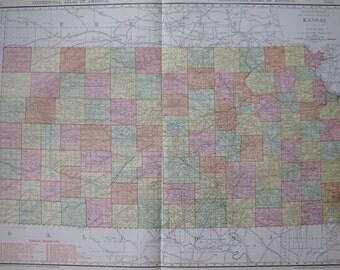 Rare KANSAS Map of Kansas State Map w Railroads Vintage 1914 Map RARE SIZE  Atlas Map  Plaindealing 6687