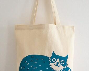 Cat Tote Bag, Hand Screen Printed Percy Cat Design in Teal