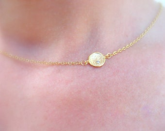 Gold Disc Necklace Minimalist Necklace Gold Jewelry, Tiny Disc Necklace Dainty Necklace, Delicate Necklace Simple Gold Jewelry Gold Necklace