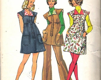 "Vintage 1973 Simplicity 5738 Junior Teens Short Dress, Jumper or Tunic & Pants Sewing Pattern Size 9/10 Bust 30 1/2"" UNCUT"