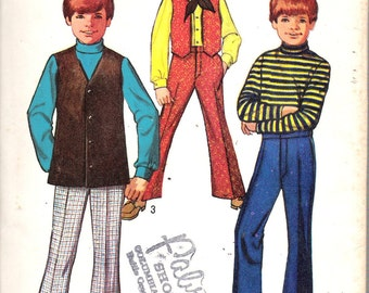 """Vintage 1969 Simplicity 8558 Boys' Bell-Bottom Pants & Vests Sewing Pattern Size 14 Chest 32"""" Waist 27"""""""