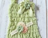 Green Romper, Cake Smash Outfit Girl, Baby Girl 1st Birthday Outfit, Baby Romper, Toddler Romper, Cake Smash Outfit, Lace Romper, Romper