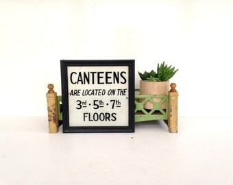 Antique Sign, Reverse Painted Glass Sign, Hand Painted Canteens Sign, Military Sign, Mess Hall, Cafeteria Sign, Vintage Kitchen Sign