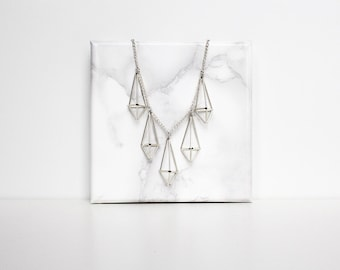 Himmeli statement prism necklace, icicle necklace, crystal necklace. Silver or gold tone.