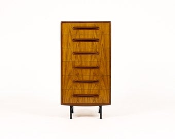 Danish Modern / Mid Century Teak Upright Dresser – Fresco line for G-Plan (6 Drawer) — Steel Base
