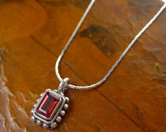 Sterling Silver Garnet Necklace, .925 Silver Red Garnet Charm, Garnet Jewelry - SE-805