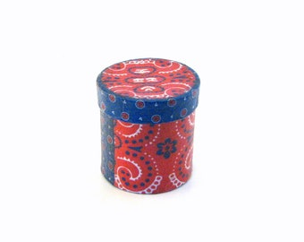 Miniature Trinket Box; Round gift box; decoupaged gift box; miniature decoupaged box; western gift box; gift box for him; bandanna gift box