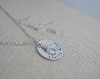 Island Life - Beach Necklace Earring Set - Hand Stamped - Ocean - Crystal Drop
